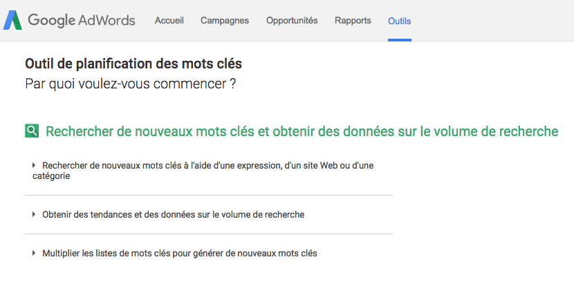 google-adwords-planification mots cles